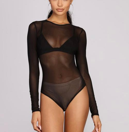 sheer mash bodysuit gigi hadid fashion tops long sleeves sheer