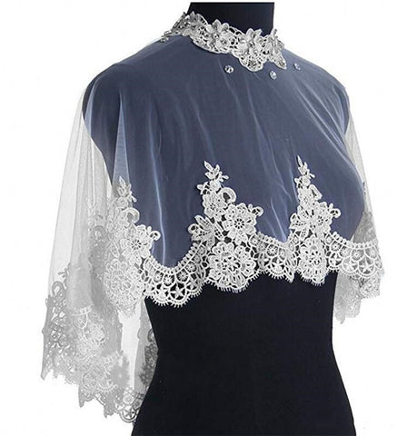 Lace Bridal Shawl Wrap Shrug Bolero Wedding Tulle Cape for Bride