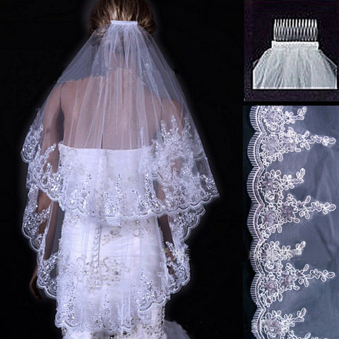 Mid Veil with Scalloped Edges and Lace.