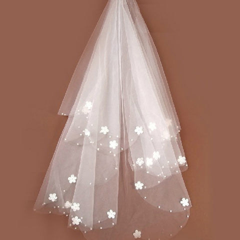 Tulle Embroidered Flower Veil  Elbow Length