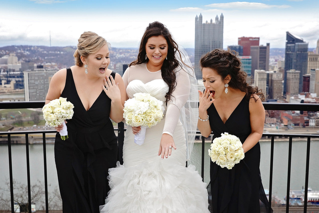 Bridesmaids cover up modest brides