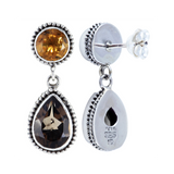 Balinese Style with 5.0mm Round and 7x5 Pear Shape Semi-Precious Stones Sterling Silver Earrings