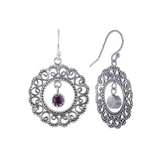 Balinese Style with 5mm Round Semi-Precious Stones Dangling Lace Earring - Suphiras