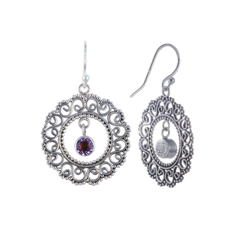 Balinese Style with 5mm Round Semi-Precious Stones Dangling Lace Earring