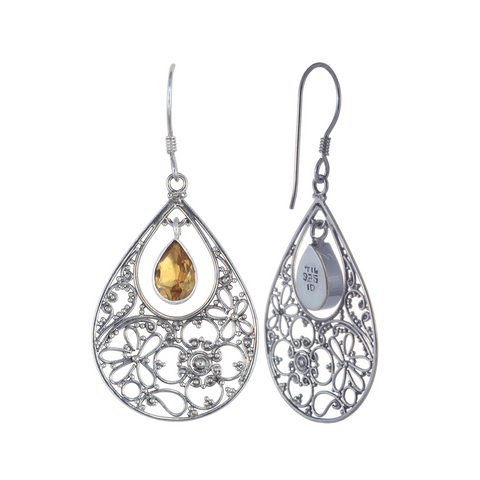 Balinese Style with 9x5 Pear Shape Semi-Precious Stones Dangling Earring