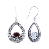 Balinese Style with 7x5 Oval Shape Semi-Precious Stones Sterling Silver Earrings