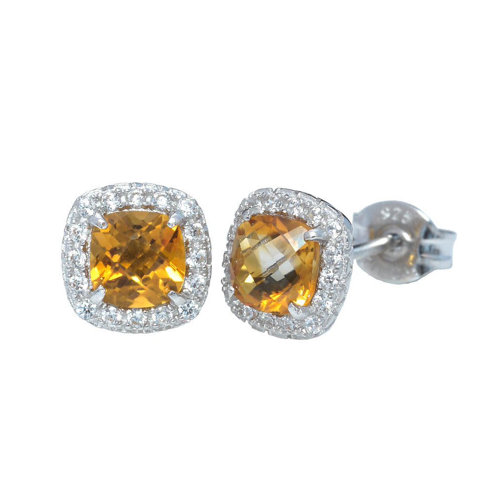 Square Semi-Precious Stone with White Cubic Zirconia Checkerboard Earrings - Suphiras