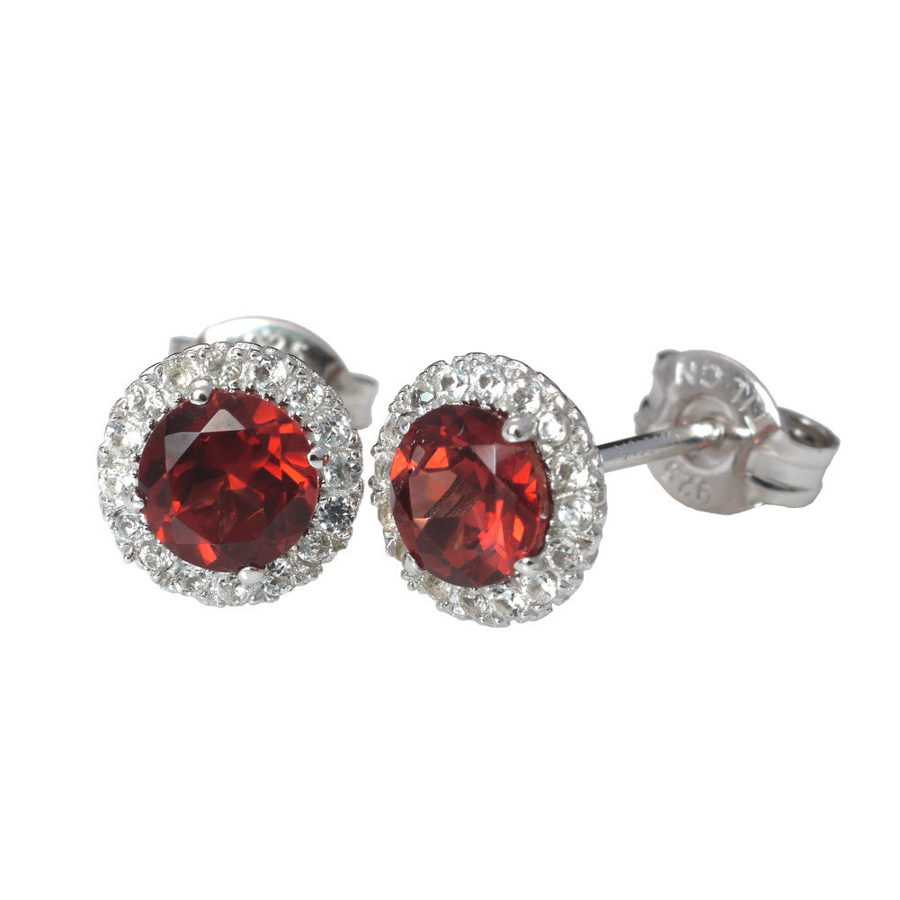 Semi-Precious Stones With White Cubic Zirconia Sterling Silver Halo Style Stud Earrings