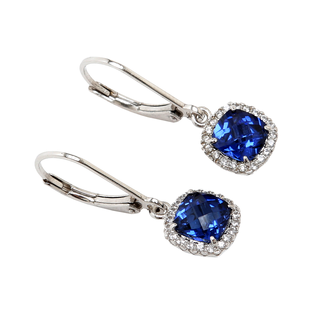Lab Created Blue Sapphire with Created White Sapphire Sterling Silver Leverback Earrings