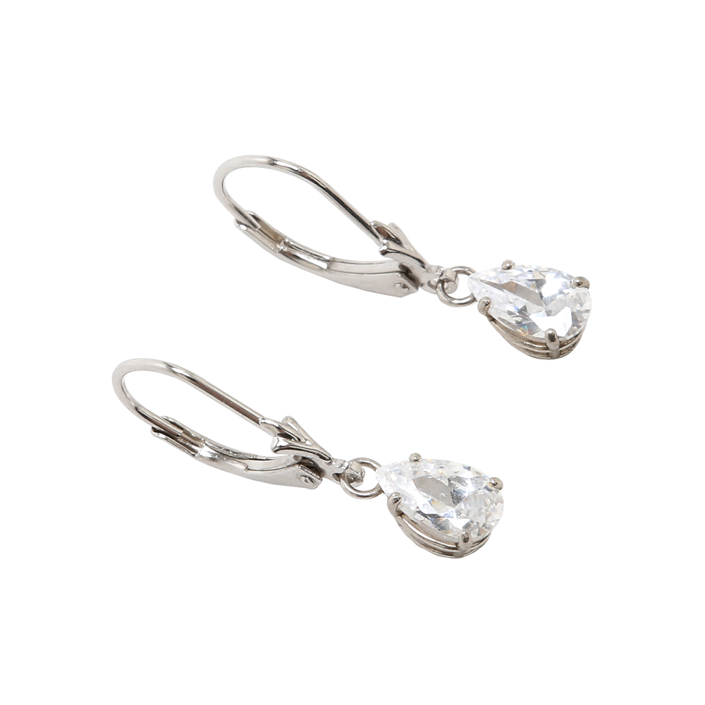 Cubic Zirconia Sterling Silver Leverback Earring - Suphiras