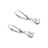 Cubic Zirconia Sterling Silver Leverback Earring