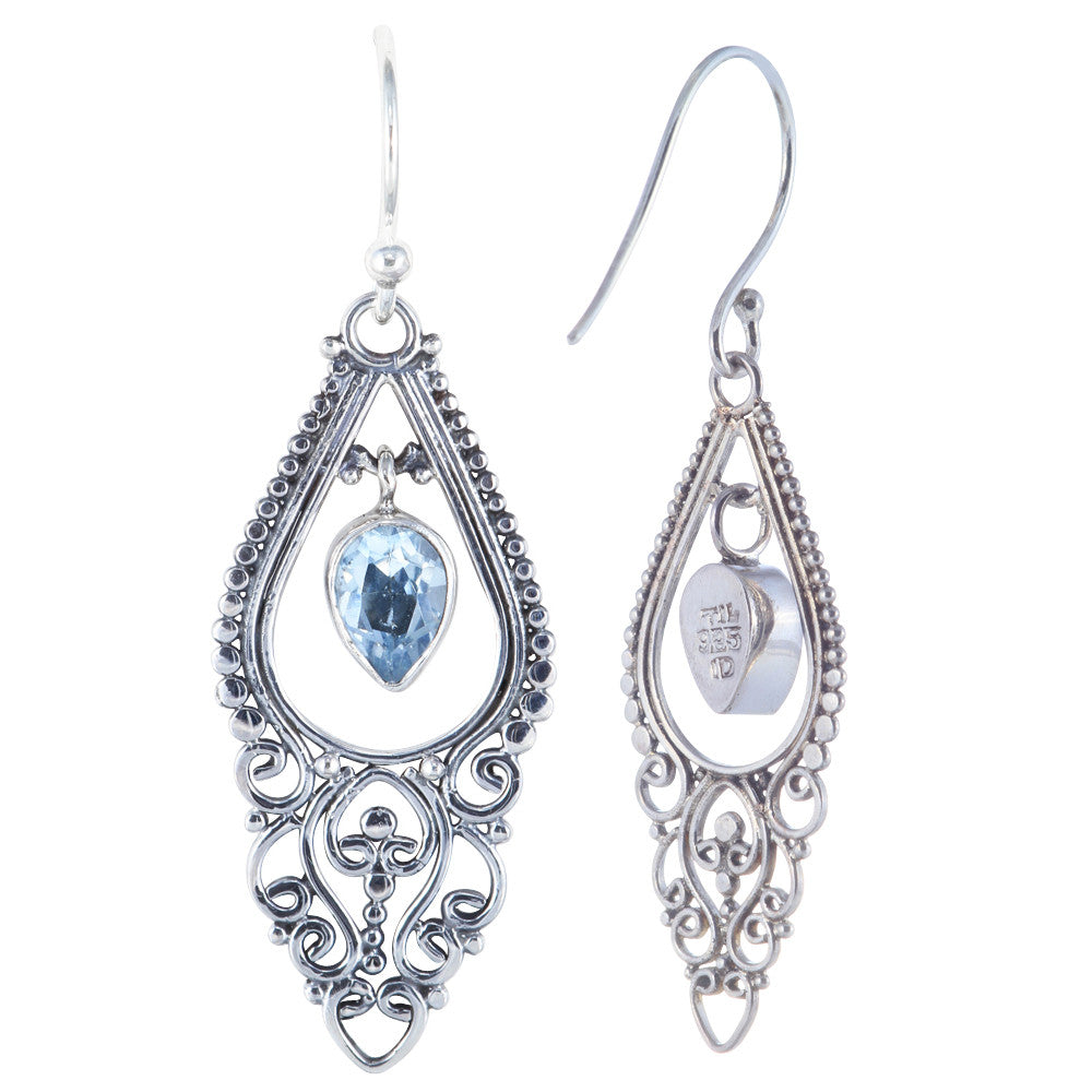 Balinese Style with 5x7 Pear Shape Dangling Earring - Suphiras
