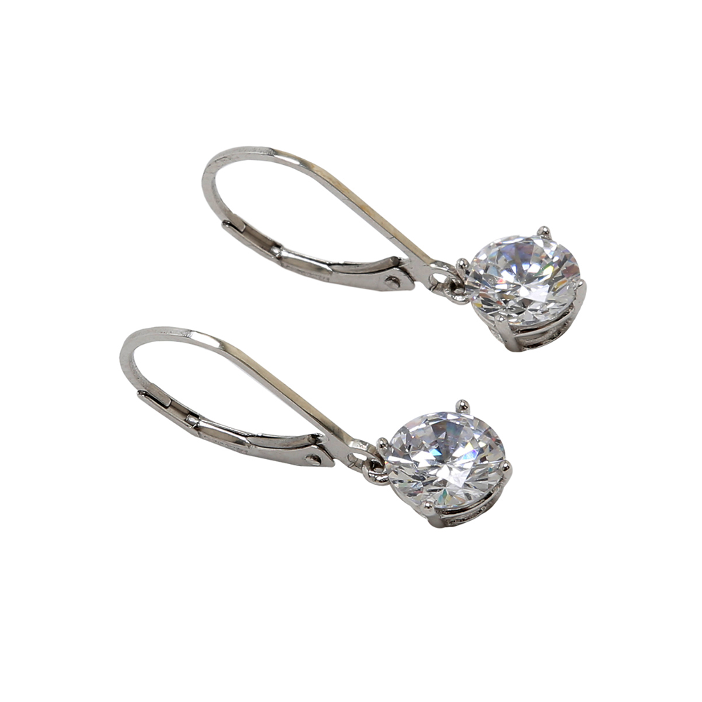 Round Cubic Zirconia Sterling Silver Leverback Earring