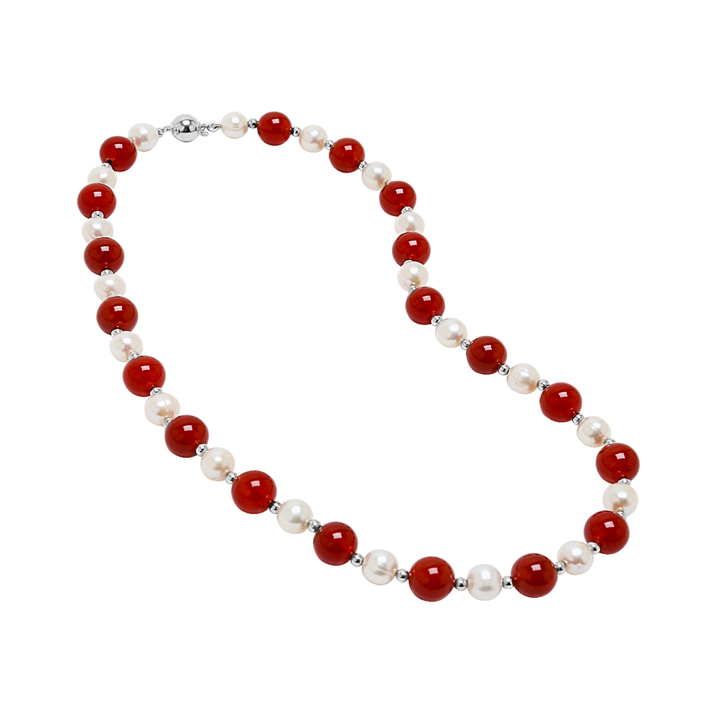 Genuine Opaque Stones and Pearls Necklace - Suphiras