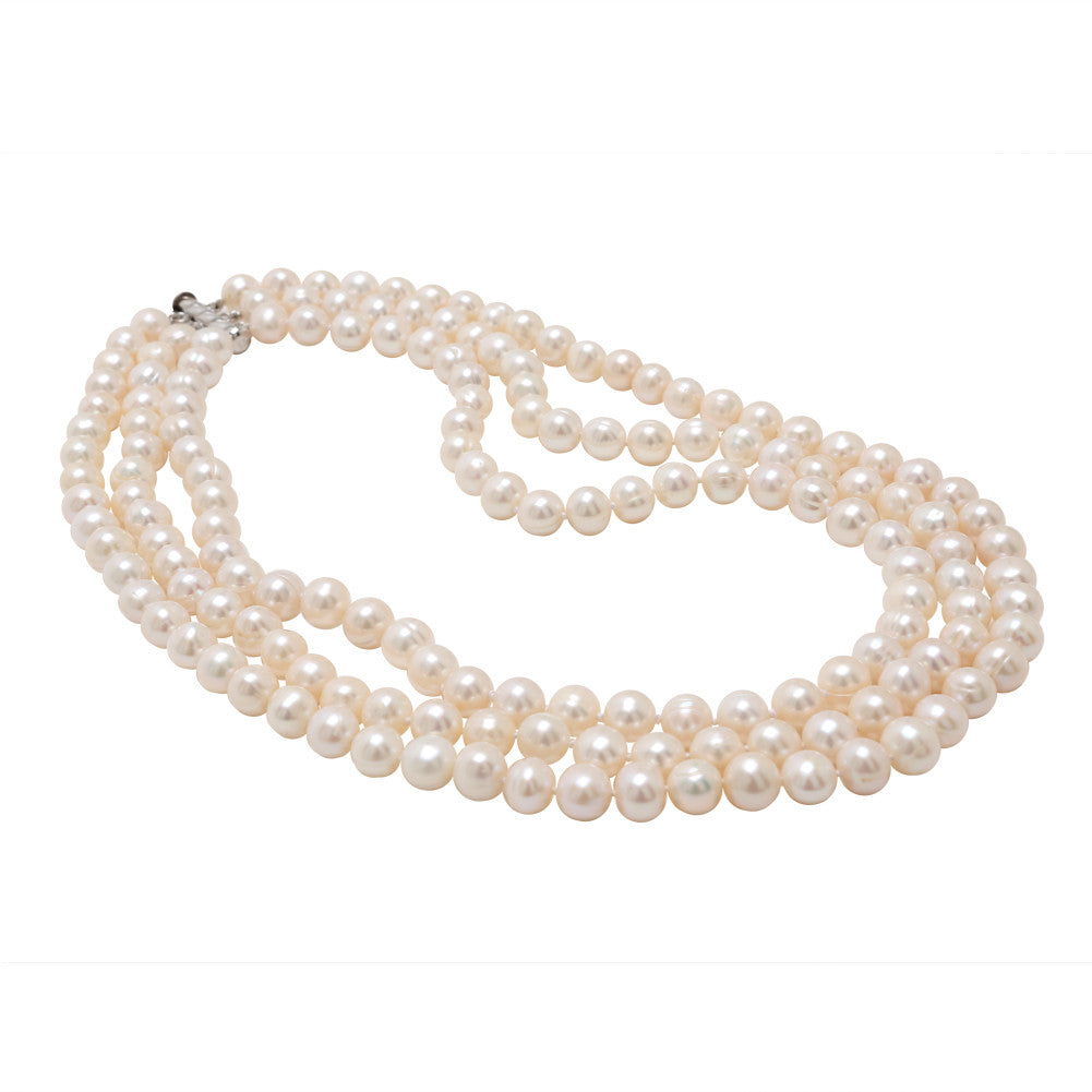 Fancy White Pearl Necklace 3 Strand