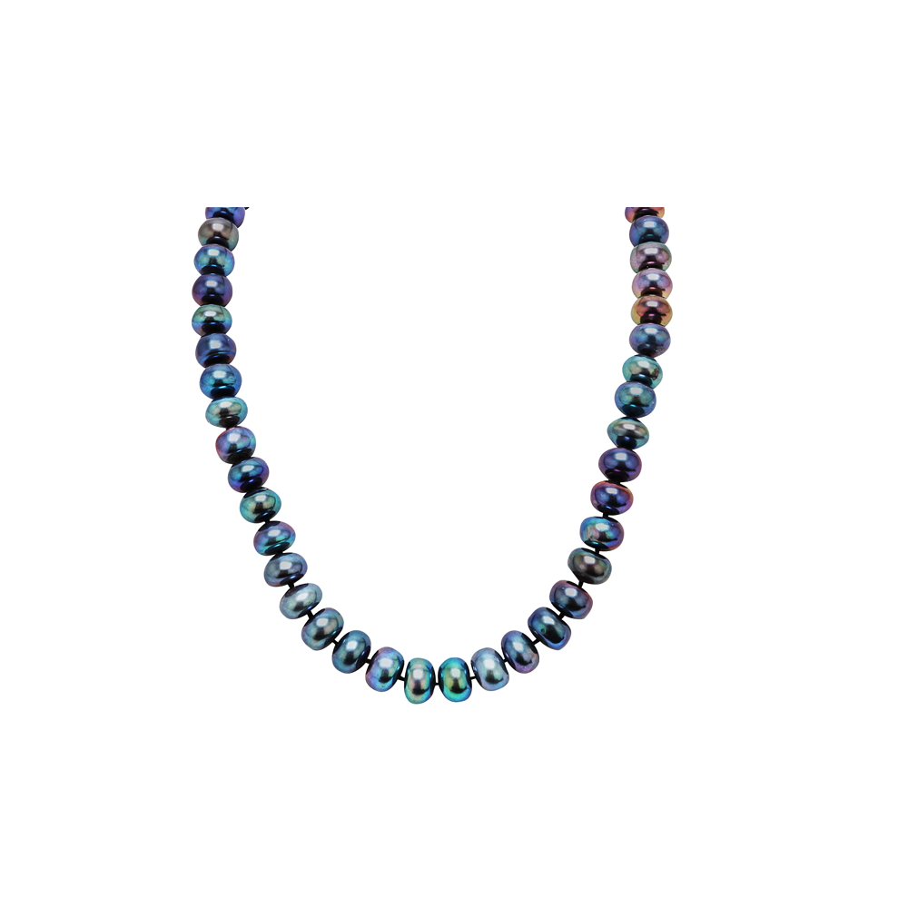 Button Fresh Water Cultured Pearl Peacock Black Necklace
