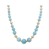 Genuine Graduated Aquamarine Stone and Fresh Water Cultured Pearls with 14K Yellow Gold - Suphiras