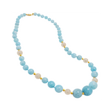 Genuine Graduated Aquamarine Stone and Fresh Water Cultured Pearls with 14K Yellow Gold