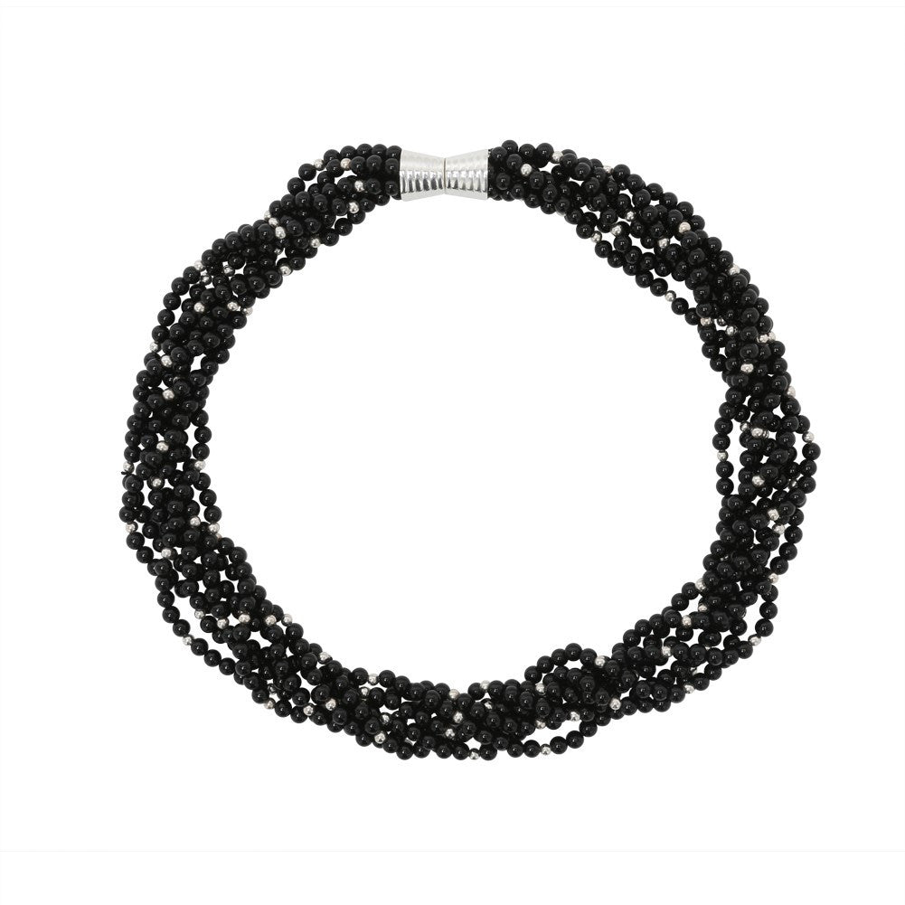 Multiple Strand Black Agate Necklace