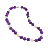 Genuine Opaque Stones and Fresh Water Cultured White Pearls with Sterling Silver