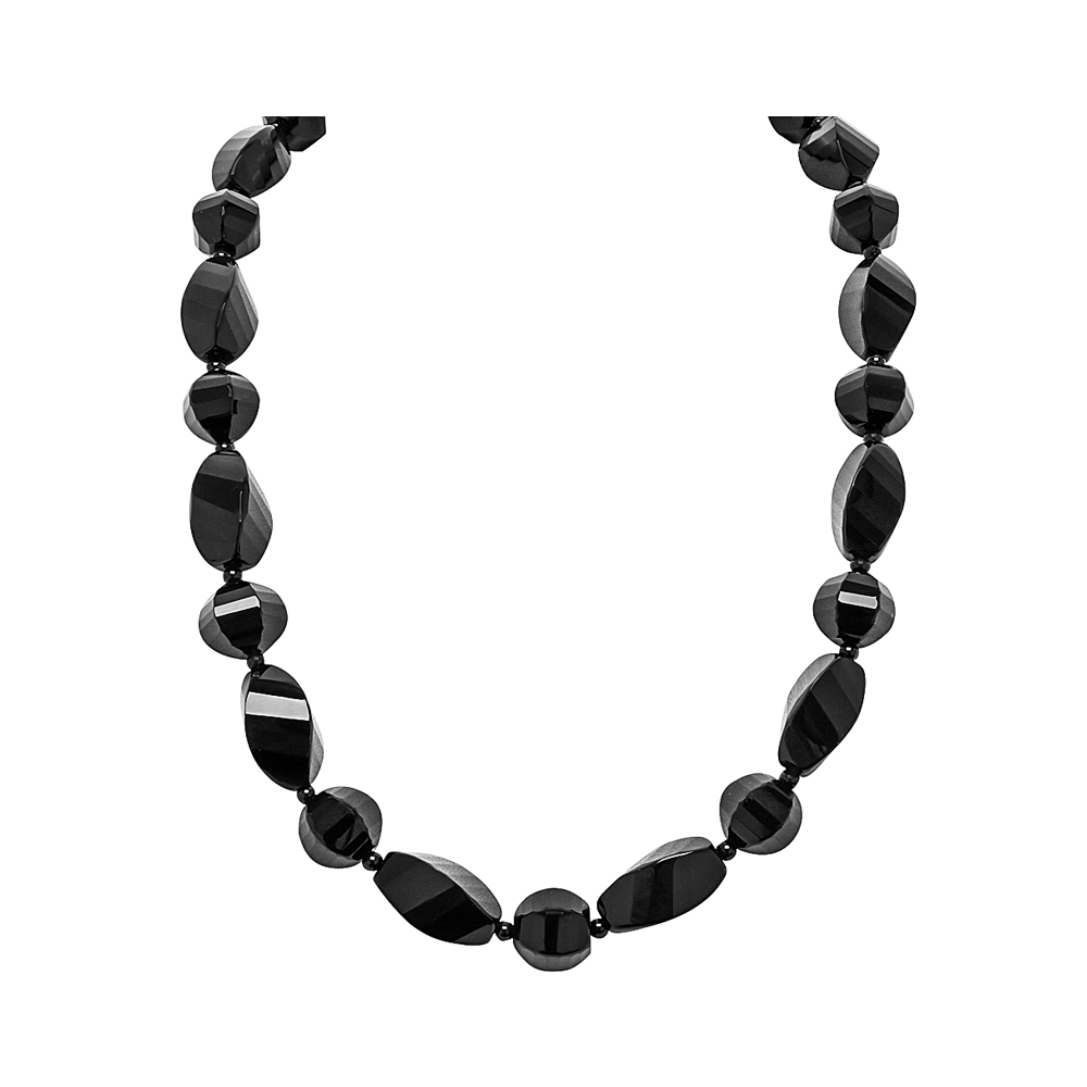 Genuine Fancy Faceted Twisted Black Agate Multi-shape Stones with Silver Clasp - Suphiras