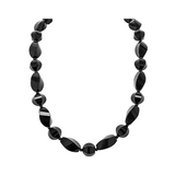 Genuine Fancy Faceted Twisted Black Agate Multi-shape Stones with Silver Clasp