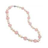 Genuine Rose Quartz Stones and Fresh Water Cultured White Pearls with Sterling Silver Clasp