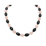 Genuine Fancy Rose Quartz and Faceted Black Agate with 14K Yellow Gold