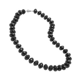 Faceted Black Agate Rondel Necklace