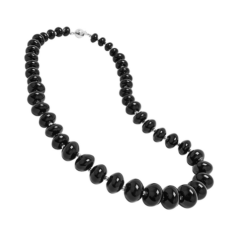 Genuine Fancy Graduated Black Agate Stones Sterling Silver