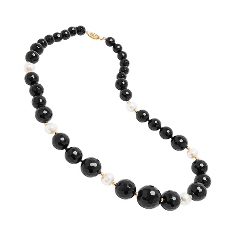 Genuine Graduated Facted Black Agate Stones and Fresh Water Cultured White Pearls with 14K Yellow Gold