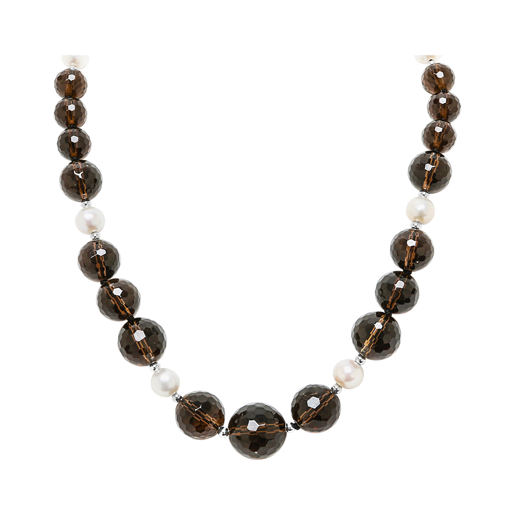 Genuine Graduated Facted Smokey Quartz Stones and Fresh Water Cultured White Pearls with 14K Yellow Gold - Suphiras
