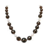Genuine Graduated Facted Smokey Quartz Stones and Fresh Water Cultured White Pearls with 14K Yellow Gold
