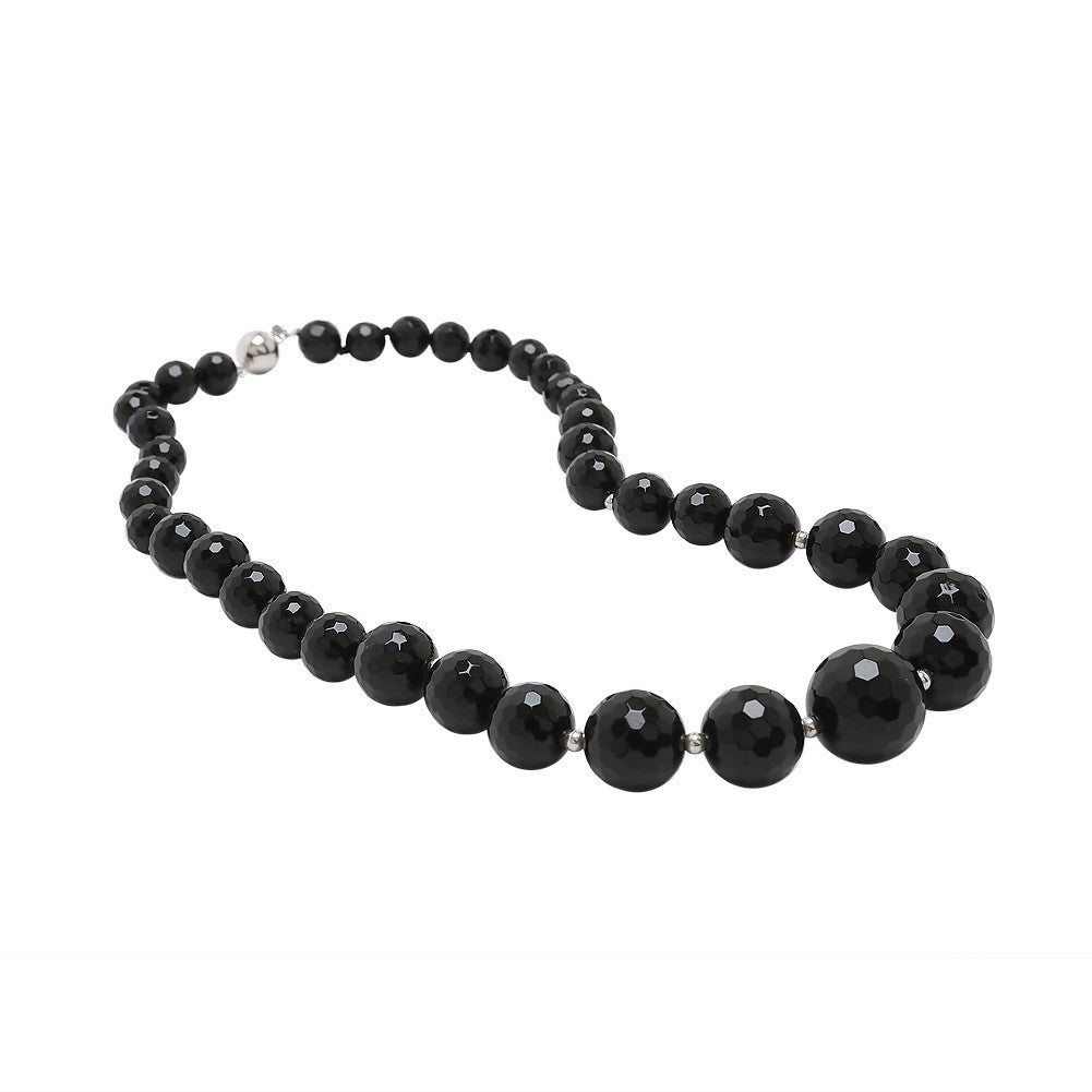 Graduated Faceted Black Agate Necklace