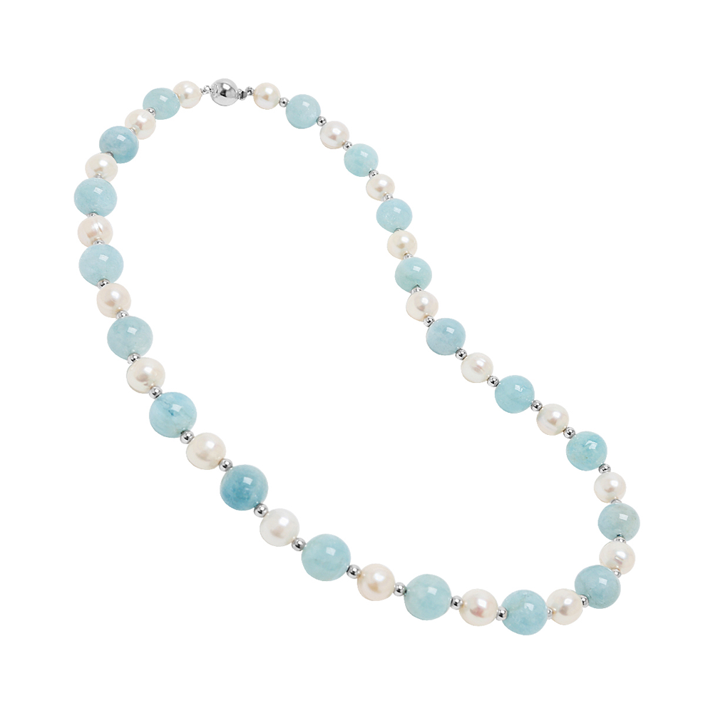 Genuine Opaque Stones and Pearls Necklace
