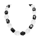 Fancy Crystal Alternate with Black Agate Necklace