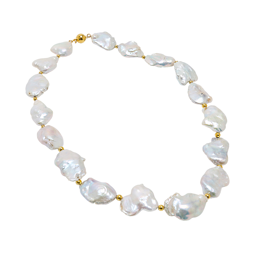 Fresh Water Cultured Baroque Pearls and 14K Yellow Gold - Suphiras