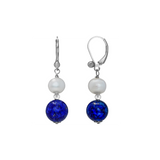 Lapis and Pearl Dangling Leaver Back Earring - Suphiras