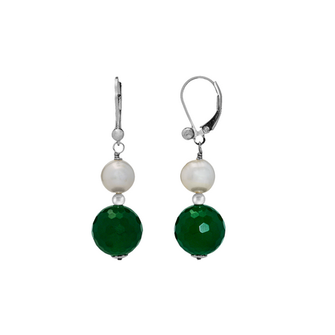 Pearl and Faceted Opaque Stones Leverback Earrings