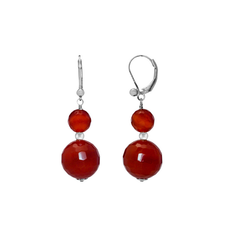 Faceted Opaque Stones Sterling Silver Dangling Leverback Earrings Collection