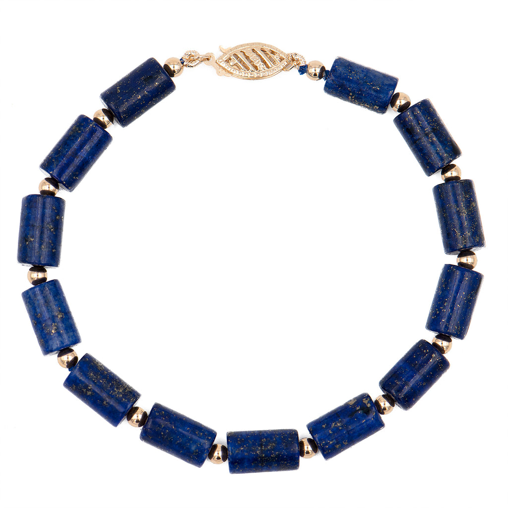 Lapis Tube Bead Bracelet with 14K Gold Beads and Clasp - Suphiras