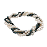 Fancy White and Peacock Black Pearl Necklace