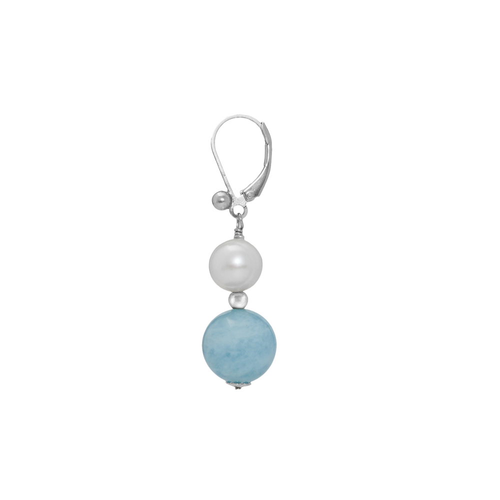Aquamarine and Pearl Dangling Leverback Earring - Suphiras