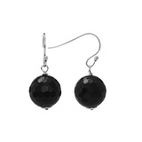 Facted Opaue Stone Sterling Silver Dangling Euro Wire Earrings Collection - Suphiras