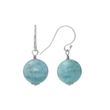 Sterling Silver Opaque Stone Dangling Euro Wire Earrings