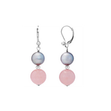 Rose Quartz and Pearl Dangling Leverback Earring