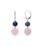 Rose Quartz and Peacock Pearl Dangling Leverback Earring