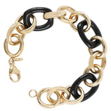 Black Agate & Gold Plated Sterling Silver Rollo Link Bracelet - Suphiras