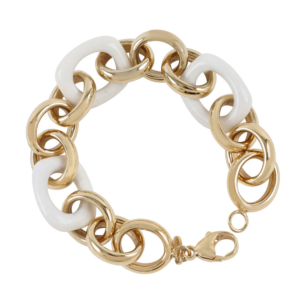 White Agate & Gold Plated Sterling Silver Rollo Link Bracelet - Suphiras