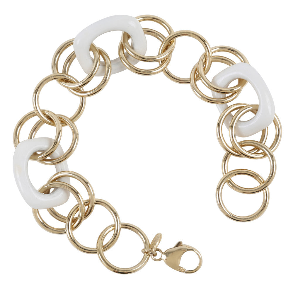 Gold Plated Sterling Silver White Agate Rollo Bracelet